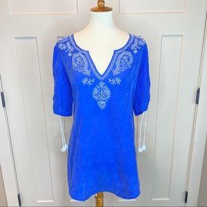 Banana Republic Blue Silk Embroidered Tunic Blouse